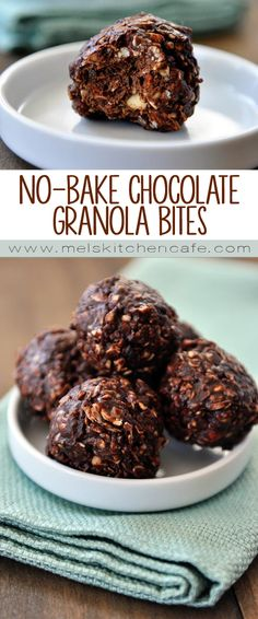 These delicious and easy no-bake dark chocolate granola bites make a great snack.