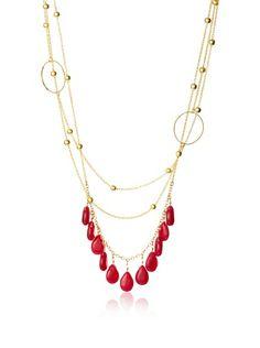 David Aubrey Long Dyed Jade Fringe Necklace
