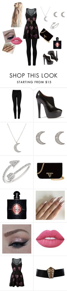 """""""Untitled #62"""" by frostwolf1864 ❤ liked on Polyvore featuring Wolford, Alaïa, Finn, Morris & David, Prada, Yves Saint Laurent, Lime Crime, Philipp Plein and Chanel"""
