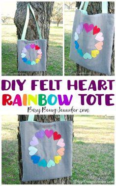 DIY Felt Heart Rainbow Tote - Busy Being Jennifer