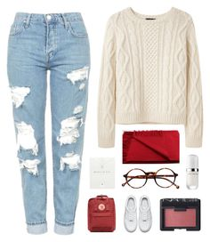 """""""Blanket Scarf"""" by for-the-love-of-pink ❤ liked on Polyvore featuring A.P.C., Topshop, Marc Jacobs, Dogeared, Fjällräven, NARS Cosmetics, Retrò and NIKE"""