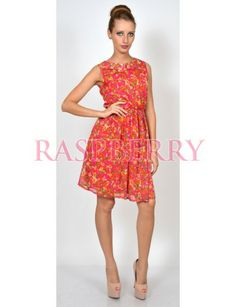 Dress with flower print and collar - Rochii - Imbracaminte