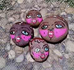 'Pink Cheeks' Stoner Rocks inspired by #LindseyWixson Painted by AiyanaSphere