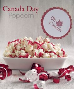 Canada Day Popcorn via How Lovely It Is Canada Day 150, Happy Canada Day, Visit Canada, Canadian Cuisine, Canadian Food, Canadian Recipes, Canada Day Crafts, Air Popper, One Day