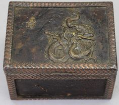 Signed Antique Chinese Copper/Bronze Dragon Box
