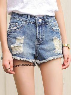 Light Blue, Wash, Rip Detail, Frayed, Denim Shorts