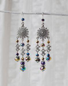 Long Chandelier Dangle Earrings Mirrored Crystal от ChechelArt