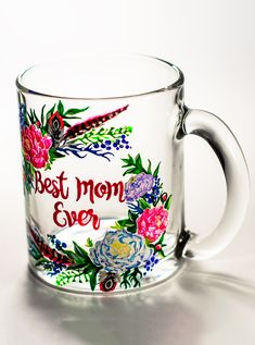 Best Mom Mug Personalized Mother's Day Gift, Best Mom Ever Gift, Custom Mom Mugs for Mother's Day Gift, Floral Mug