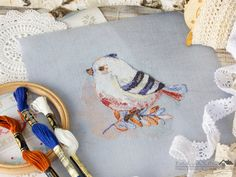 Watercolor Winter Bird PDF cross stitch pattern / instant
