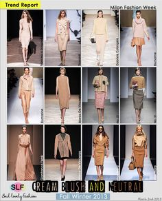 Cream, Blush & Neutral, Different Shades of Neutral Color Fashion Trend for Fall Winter 2013