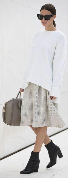 Zara Ivory Eyelet Loose Midi Skirt by Fashionvibe