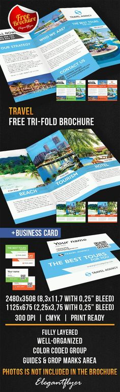 Travel Tri-Fold Brochure – Free PSD Template - More at designresources.io