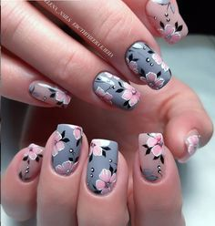 Lovely Early Spring Short Nails Art Design And Colors Ideas - Floral nail art - Flower Nail Designs, Best Nail Art Designs, Acrylic Nail Designs, Acrylic Nails, Gel Nail, Spring Nail Art, Spring Nails, Summer Nails, Fun Nails