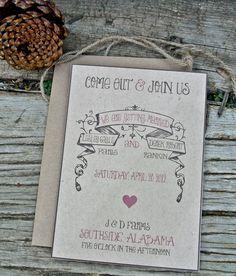 Wedding Invitation : Rustic and Vintage. $2.00, via Etsy.