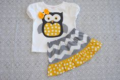 Gray and Yellow Chevron Skirt with Matching Owl Shirt. $40.00, via Etsy.  {I'm not into the owl trend but I LOVE the chevron & the gray/yellow combo}