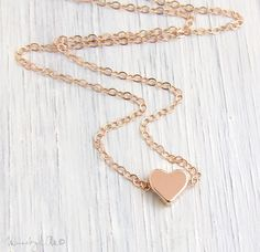 Heart Necklace  Rose Gold Necklace Dainty Necklace by MuseByLAM, $29.00