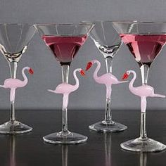 Flamingos stemware