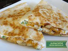 Jalapeno Popper Chicken Quesadillas