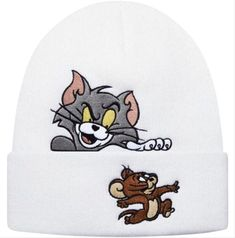 Supreme Hat, Supreme Logo, White Toms, White Beanies, Embroidered Hats, Hat Shop, Tom And Jerry, Beanie Hats, Fashion Accessories