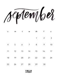 September Brush Calligraphy Calendar 2016