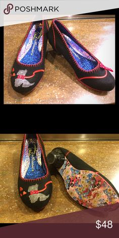 Irregular Choice doggy shoes. Super cute low heeled shoes by Irregular Choice. Felted uppers with dog on one shoe and leash on the other. Cute patterned soles. Worn maybe 2-3 times. Excellent condition. Labeled as 37/6.5. Irregular Choice Shoes Heels