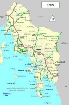 map of krabi, thailand travel map