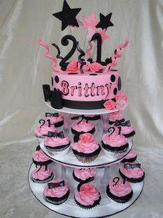 Pink & Black 21st tower Cake