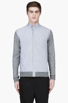 PUBLIC SCHOOL Grey Knit-Paneled Button Down Shirt