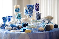 Love the blue candy table!