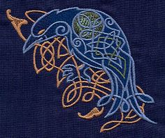Embroidery Designs at Urban Threads - Celtic Majesty Raven Viking Embroidery, Japanese Embroidery, Embroidery Patterns, Quilt Patterns, Machine Embroidery, Celtic Raven, Celtic Art, Viking Raven, Raven Tattoo