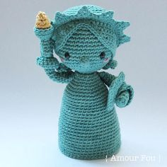 {This is an INSTANT DOWNLOAD PDF CROCHET PATTERN, NOT the finished doll. If you are looking for the finished doll, please contact me...} SKILL LEVEL: EASY. This is a simple and detailed pattern, which was written for beginners too. FINISHED SIZE: If crocheted with a 3.00 mm hook, your finished Lady Liberty should measure more or less 22 cm. SKILLS NEEDED: Magic ring, crocheting in spiral, single crochet, half-double crochet and double crochet stitches, increase and decrease stitches, color…