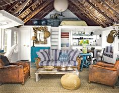 Small Rustic Nautical Beach Cottage Living Room....