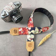 DSLR camera strapNavy Red flower Camera Strap leather camera