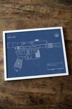 Blueprint of Han Solo's blaster.