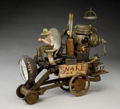John Whipple Found Art, Small Sculptures, Steampunk, Metal Toys, Art Carved, Unusual Art, Assemblage Art, Recycled Art, Classic Toys