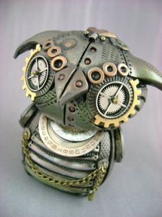 Steampunk polymer clay owl...must try this with my angry bird figures!