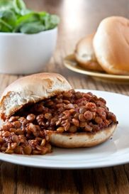 Lentil Sloppy Joes. Yum :) I forgot the broth so I subbed water. Still turned out yummy though :)