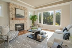 Stone to ceiling fireplace detail, etchwood beam mantel Oakland Hills, New Homes For Sale, Condominium, How To Take Photos, Beams, Ceiling, Patio, Living Room, Detail