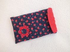 Navy with Red Strawberries Mobile Phone Sleeve £8.00