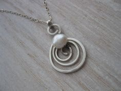 Organic Swirl of a Pearl Necklace  Handforged by LizardCrumbs, $36.00