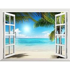 """Wall26® White Sand Beach with Palm Tree Open Window Mural Wall Decal Sticker - 36""""x48"""""""