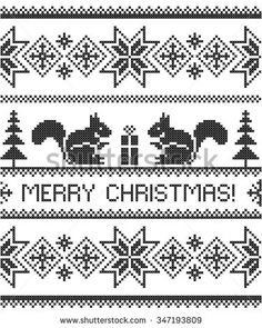Merry Christmas! Christmas background. Vector seamless pattern. Scheme of knitting and embroidery.