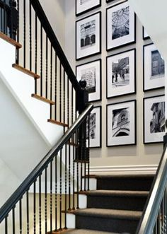 Stairwell Photo Decor - clean and interior design 2012 design ideas home design design house design Inspiration Wand, Decoration Inspiration, Decor Ideas, Decorating Ideas, Stairway Decorating, Room Ideas, Decorating High Walls, Hallway Inspiration, Interior Decorating