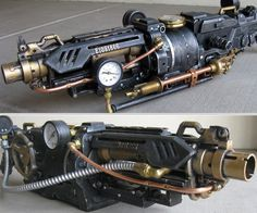 The Goliathon is a formidable gun of the steampunk persuasion. An apocalyptic machination of copper, brass, and steel that harnesses the power of a full-size steam locomotive. A mammoth burly enough to annihilate an army of green pigs, and to make Na