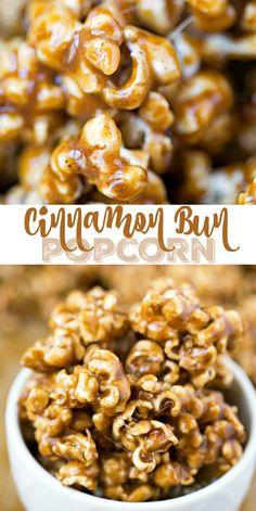 Candy corn meets caramel corn! This Cinnamon Bun Popcorn is a chewy/crisp popcorn coated in a rich, buttery, cinnamon sugar glaze!