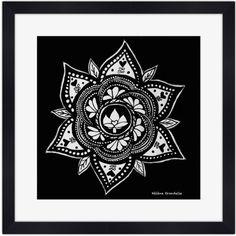 Poster Mandala Noir & Blanc avec passepartout blanc et cadre photo noir. Disponible sur A Little Market.