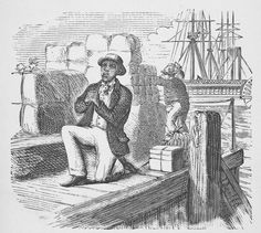 African-American man kneeling in prayer on pier.  Henry Bleby, 1809-1882
