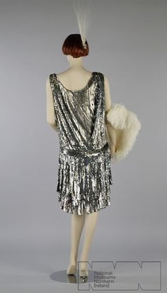 Evening Dress of Silver Sequins on Net, 1920s.