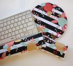 black white stripes gold metallic flowers mouse pad Keyboard rest and or WRIST REST MousePad set – coworker gift – office Desk Accessories – Chic Home Office Design School Gifts, Student Gifts, Gold Desk Accessories, Gifts For Office, Metal Flowers, Textiles, Gifts For Coworkers, Black White Stripes, Office Desk