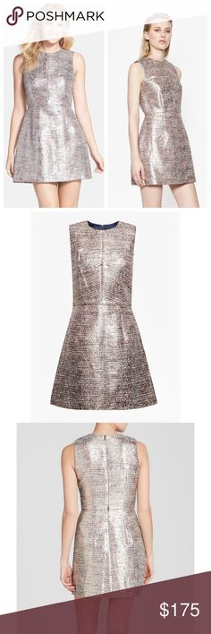 French Connection Metallic Tweed Fit & Flare Dress Beyond stunning structured dress. Catch the light in this oh-so-chic metallic shift dress. With a light-reflecting finish and modern fuss-free fit, it looks utterly effortless teamed with spiky pointed-toe heels and slicked-back hair, for a look that's straight off the catwalk. Sleeveless cotton-blend dress with metallic finish. Fitted with slightly flared-out skirt. Invisible centre back zip. Round neckline. Brand new with tags. French…